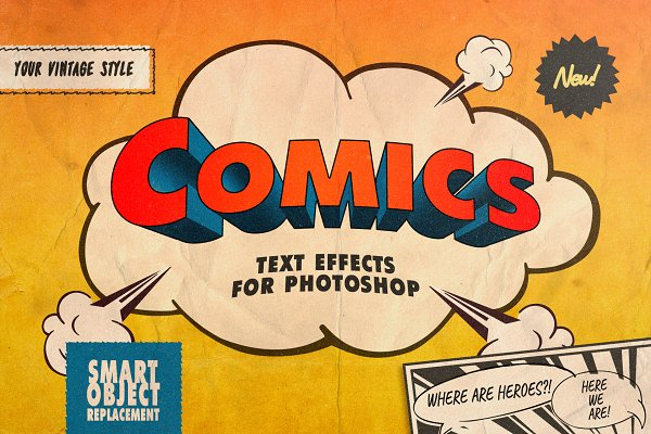 Photoshop Layer Styles: Pixelbuddha - Vintage Comics Text Effects