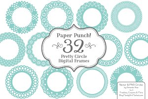 Aqua Vector Lace Circle Frames