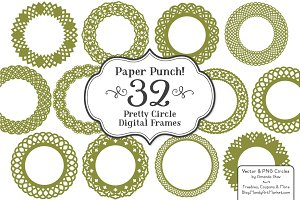Round Lace Avocado Frames & Vectors