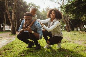 Happy african family enjoying