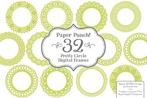 Bamboo Green Lace Circle Frames