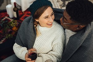 Happy interracial couple enjoying