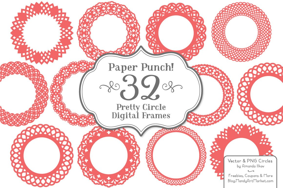Round Lace Vector Frames in Coral ~ Illustrations ~ Creative Market