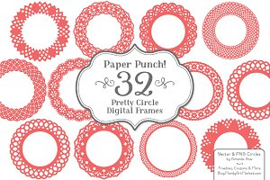 Round Lace Vector Frames in Coral