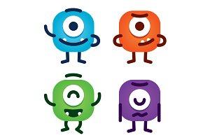 Cute Simple Monster Mascot Emoji