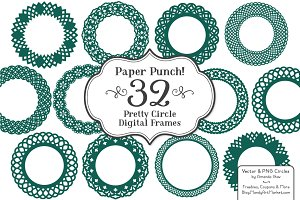 Emerald Green Lace Frame Vectors