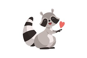 Cute Raccoon with Red Heart, Funny