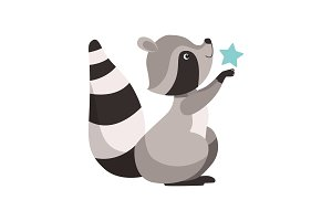 Cute Raccoon with Star, Funny