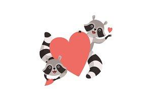 Cute Little Raccoons Holding Big