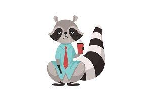 Raccoon Businessman Character
