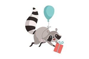 Cute Raccoon Flying with Balloon