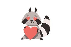 Cute Raccoon with Heart Shaped Eyes