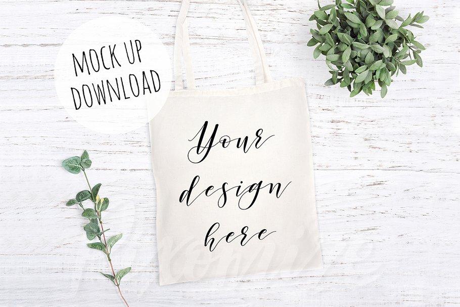 Tote Bag Mockup with Plants
