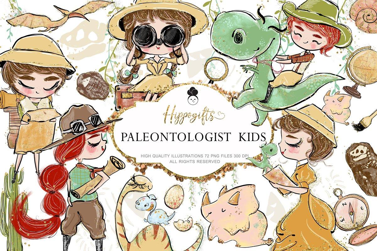 Paleontologist kids clipart,dinosaur ~ Illustrations