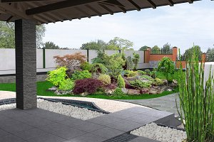 View out the gazebo to garden