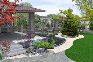 Arrangement patio living space