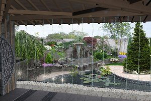 Patio cascade waterfall features