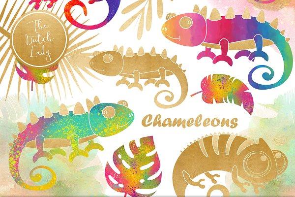 Chameleon Clipart Set