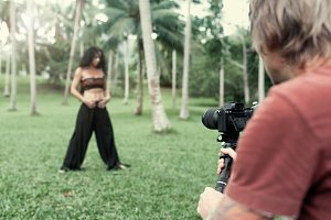 Woman in front of the camera on the