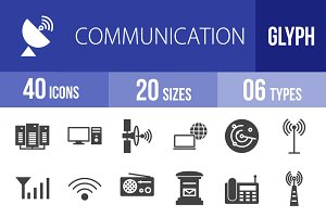 40 Communication Glyph Icons
