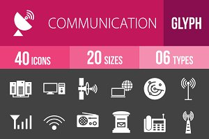 40 Communication Glyph Inverted Icon