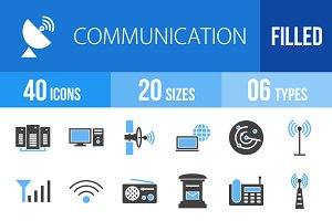 40 Communication Blue & Black Icons