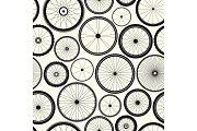 Bicycle wheel seamless pattern. Bike