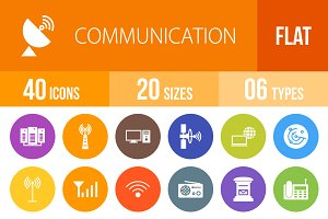 40 Communication Flat Round Icons