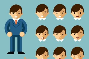 Businessman cartoon emotions
