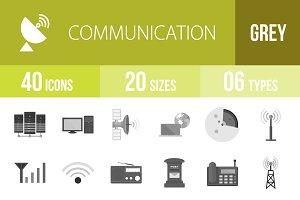 40 Communication Greyscale Icons