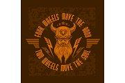 Bearded biker. Vector vintage bikers