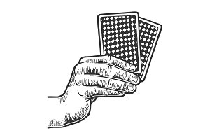 Hand with playing cards sketch