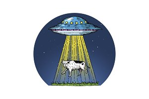 UFO kidnaps the cow color sketch