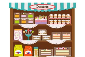 Showcase with desserts