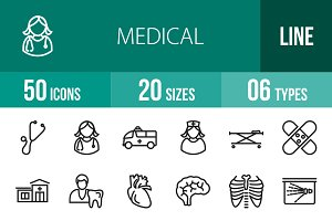50 Medical Line Icons