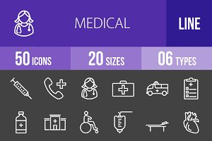 50 Medical Line Inverted Icons