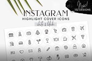 White & Black Instagram Cover Icons