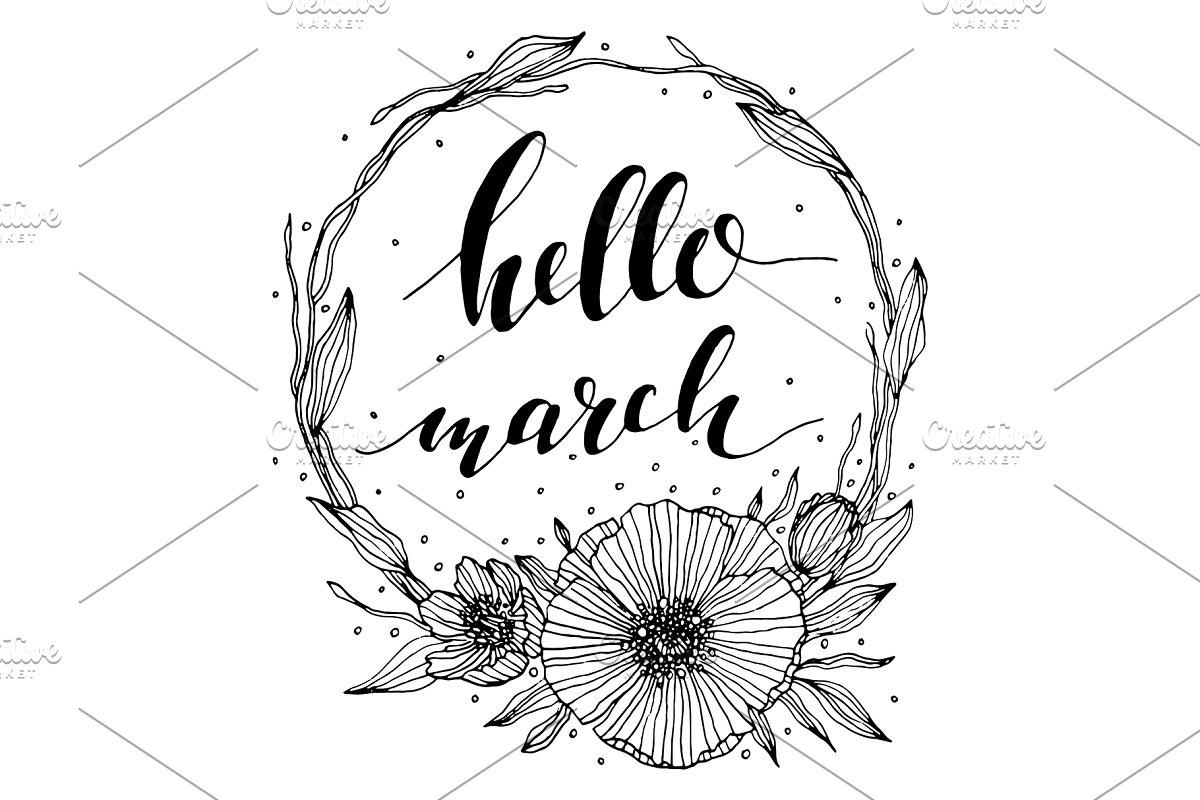 Vector Hello March Floral Line Art