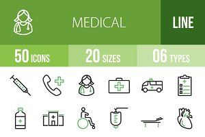 50 Medical Line Green & Black Icons