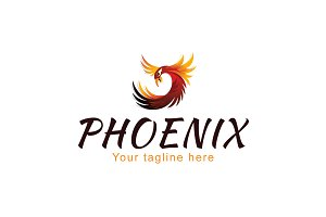 Phoenix-Mythical Fire Bird Logo