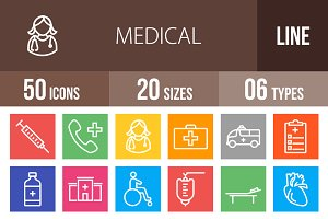 50 Medical Line Multicolor Icons