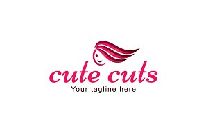 Cute Cut-Hair Saloon Stock Logo