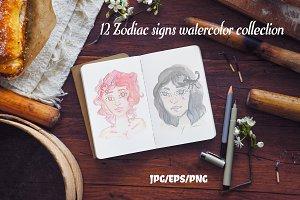 Watercolor Zodiac Girls Set