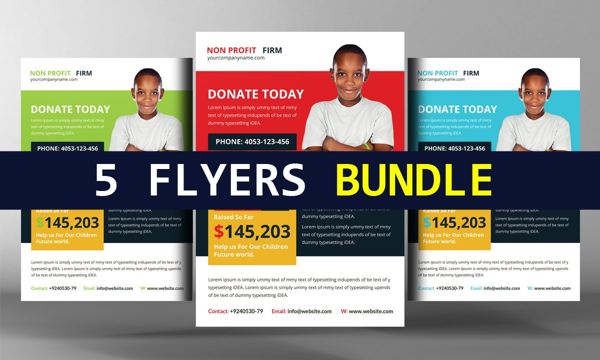 charity donation flyer template flyer templates on creative market 5 charity donation flyers bundle