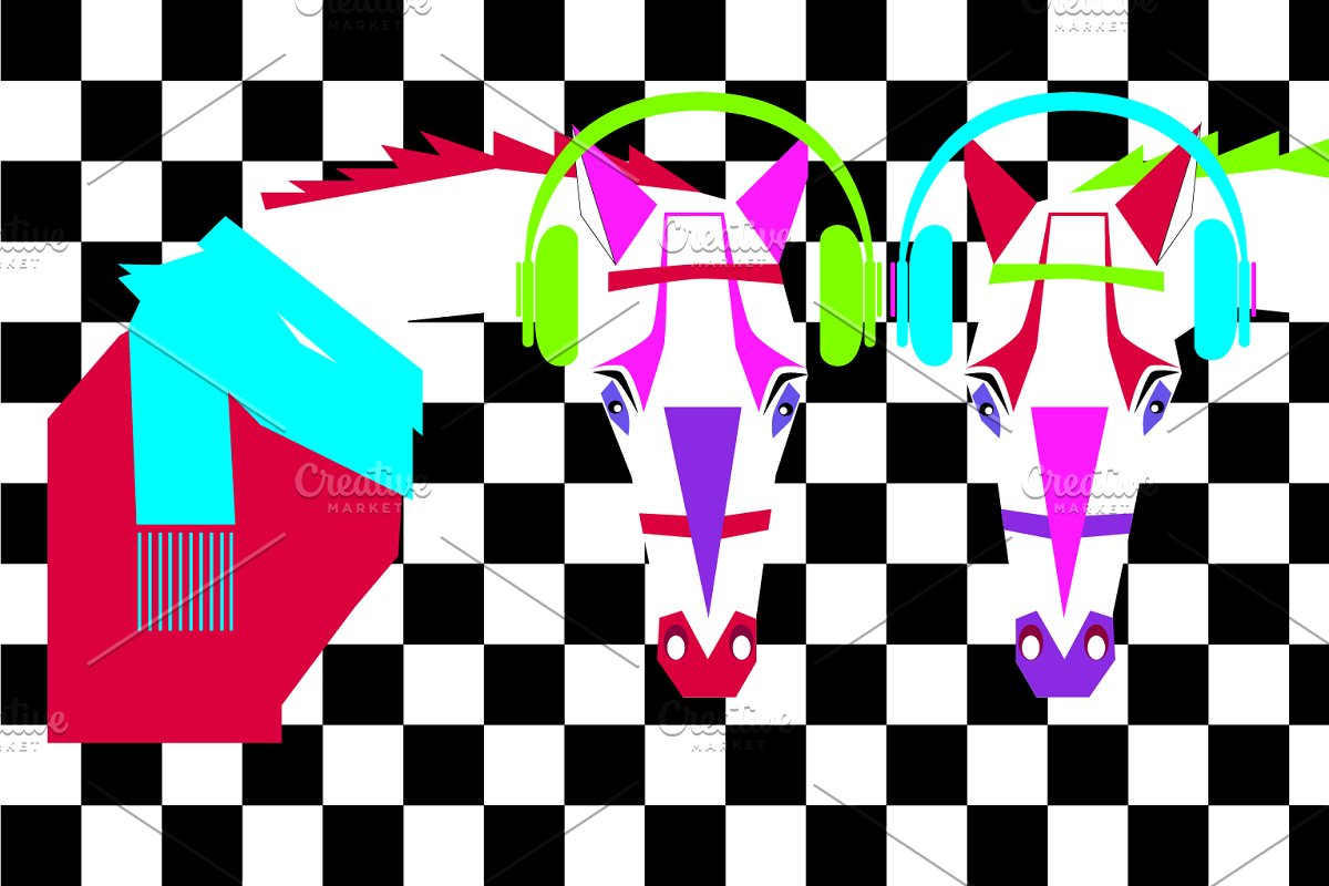 Pop art horses neon modern colors wi in Graphics - product preview 8