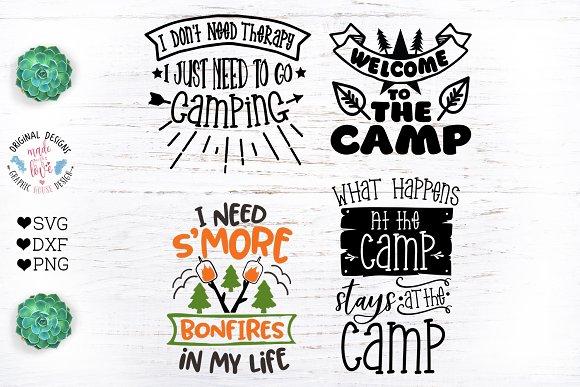 Camp Quotes Bundle Camping Cut Fil Pre Designed Photoshop Graphics Creative Market