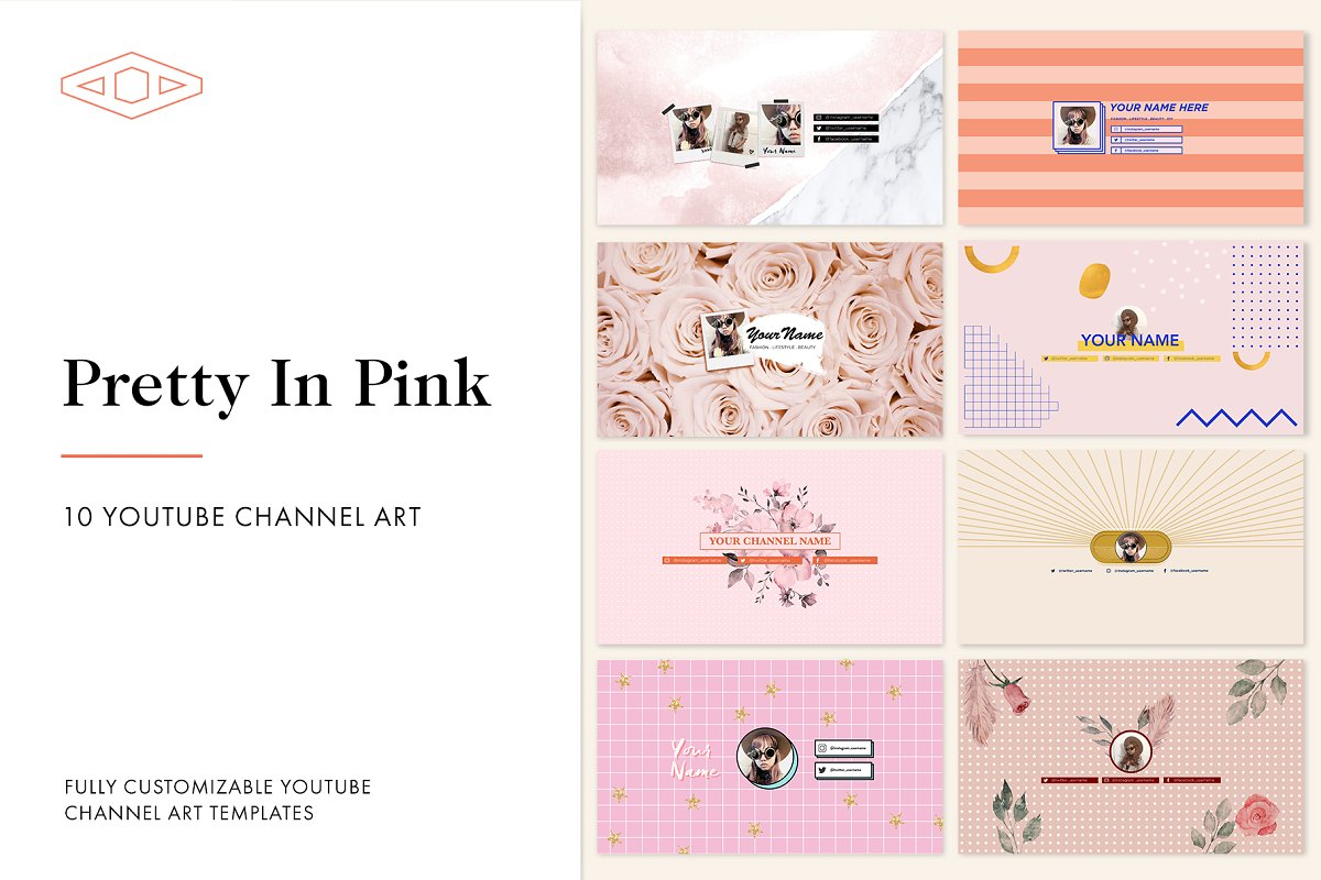Pretty in Pink Youtube Channel Art ~ YouTube Templates
