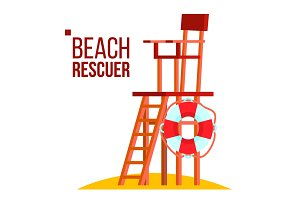 Beach Rescuer Vector. Isolated Flat