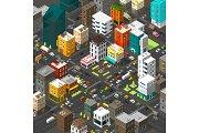 Vector isometric city. Cartoon town.
