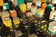 Cartoon city town district. Street